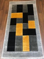 Modern Rugs Approx 5x2ft6 80x150cm Thick best quality ,Blocks Silver/yellow nice